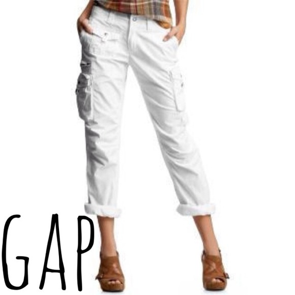 82% off GAP Pants - GAP White Cargo Capri Pants from Christine's ...