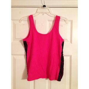 Hot Pink Crop Tank Top with Black Lace