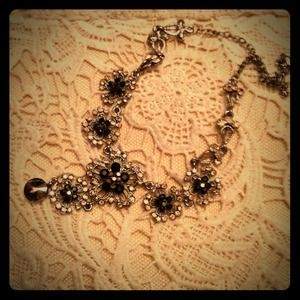 Black and Sliver Flower Necklace