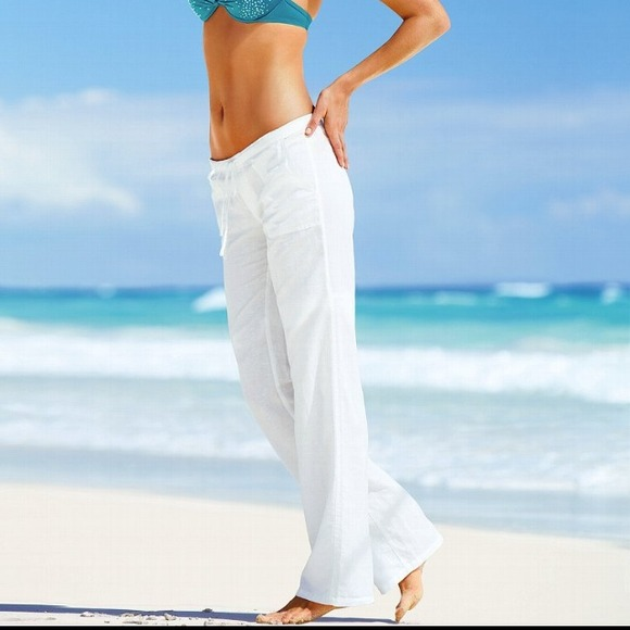 29% off Victoria's Secret Pants - Victoria's Secret White Linen ...