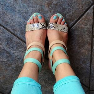 Miucha Shoes - Mint & Snake-print Heeled Sandal