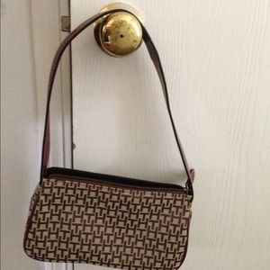 Small TH purse tan with maroon leather