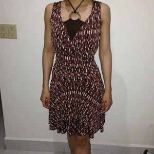 Patterned Brown Halter Dress