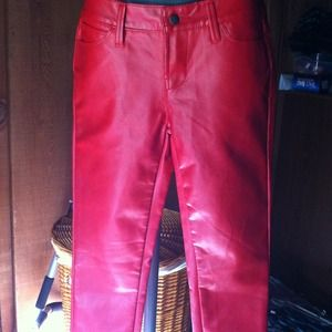 Faux red leather pants