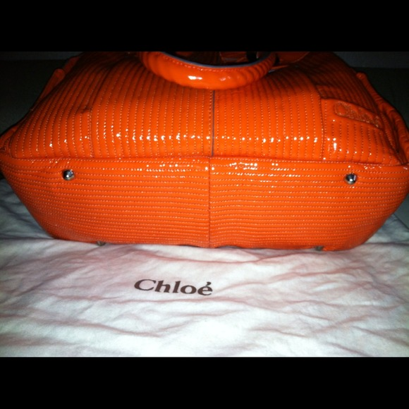 66% off Chloe Handbags - Chloe Heloise Orange Patent Leather ...