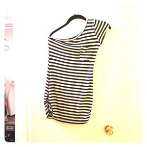 One shoulder vertical stripes black and white top