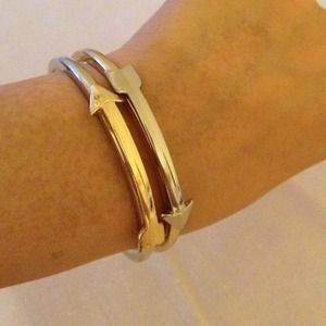 Faux Silver and Gold arrow bangle