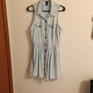 Very cute cotton dress. Faded/bleached denim look