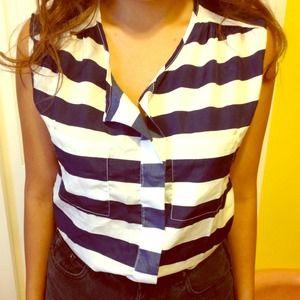 blue striped sleeveless tank