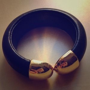REDUCED! Gold and black leather cuff bracelet
