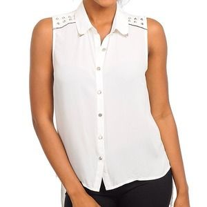 Tops - White with studs top