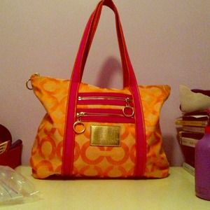 Coach poppy orange tote coachdiscount isaac mizrahi black heels orange and pink poppy coach tote bag mightylinksfo