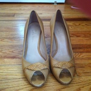 Cole Haan nude open toe pumps