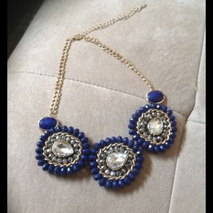 Gold Tone and Cobalt Blue Statement Necklace