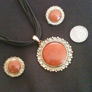 Jewelry - Coral Necklace & Clip on Earring Set