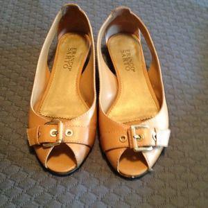 Peep Toe Tan Flats