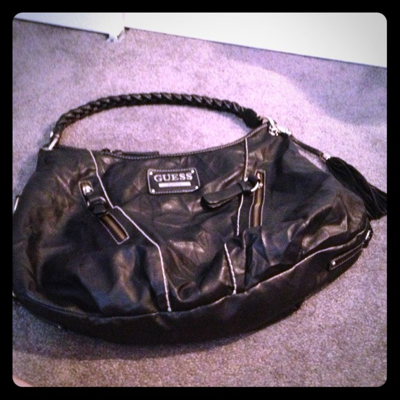 82 Off Guess Handbags Guess Faux Leather Black Hobo Bag