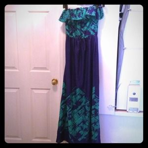 Teal and blue maxi dress