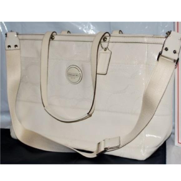 0048f1ba93a9d Coach Bags | Extra Large Patent Stitch Diaper Bag White | Poshmark
