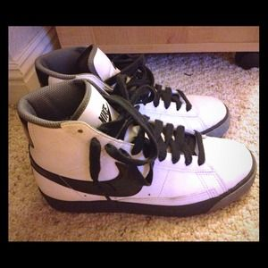 Shoes - Gray black & white Nike Blazers . 100% authentic .