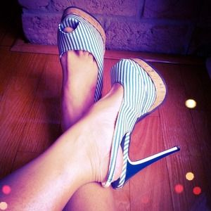 SUPER SALE Blue White Striped Denim Peep Toes