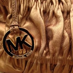 Authentic MK bag. Soft gold pleated leather.