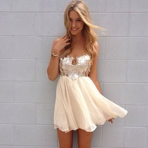 Sabo Skirt cream sequin dress