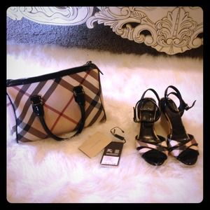 Burberry handbag and wedged sandals.