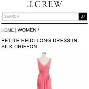 6f6f93f0a18 J. Crew Dresses - NEW J. Crew Heidi Long Dress in Silk Chiffon