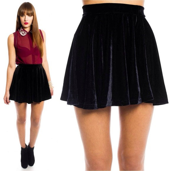 Hating. Sure black velvet skirt this