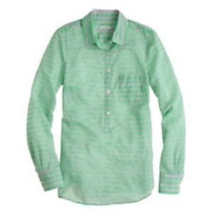 J Crew Green Gray Striped Popover 6 S!