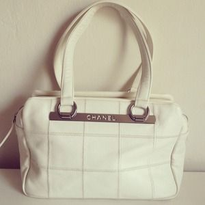 Chanel Quilted Satchel in White