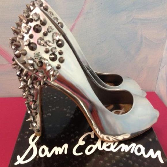 Sam Edelman gun metal peep toe heels