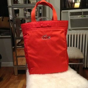 Lacoste Handbags - Lacoste 'Antares' Vertical Tote Bag Orange