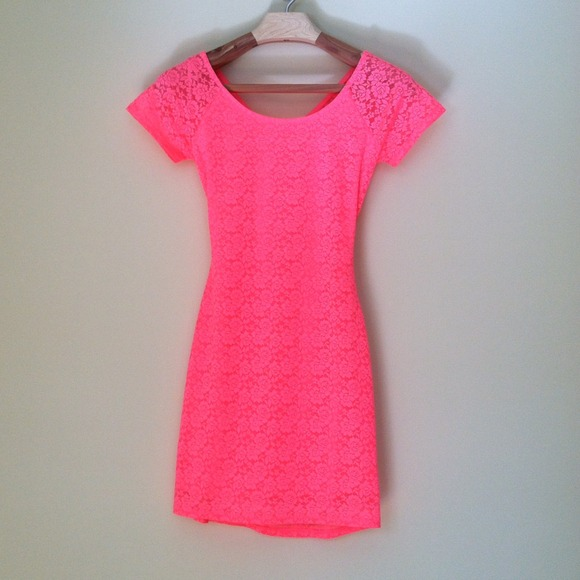 Brand New Super Cute Hot Neon Pink Lace Dress Nwt