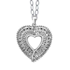 Jewelry - SAVE $$ 1CTW NATURAL WHITE DIAMOND HEART IN STER S