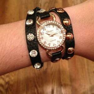 Black Wrap Watch with Rose Gold & Rhinestones