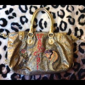 7ea3fb872127 Ed Hardy Bags - Authentic Ed Hardy Melrose Gold Leather Handbag