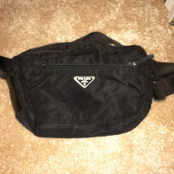 aa2be7b7 Black prada nylon sport bag