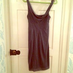 BCBG blue-gray draped jersey dress
