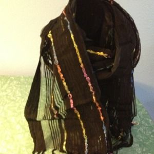 Black scarf with multi colored stripes