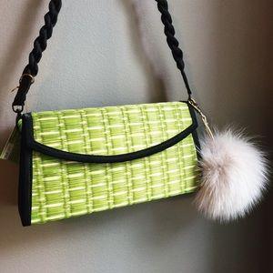 Handbags - Baskets of Cambodia Green & Black Clutch