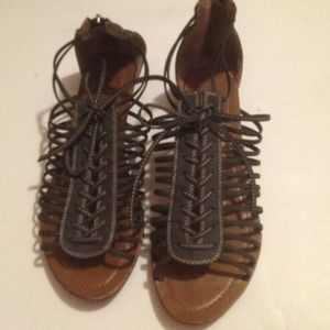 brand new gray gladiator sandals in size 8