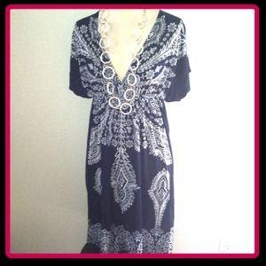 NWT! Navy Blue tribal print summer dress