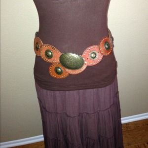 Vintage Brown Leather Belt with Brass