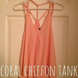 Tops - ❌ RESERVED ❌ 💖 Coral Chiffon Tank 💖
