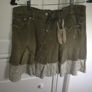Free People green and floral skirt
