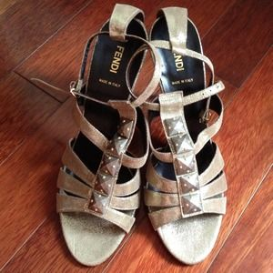 Fendi Bronze Leather Sandals