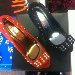 Black and orange studded heels