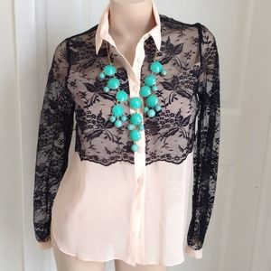Lace blouse black and light peach color